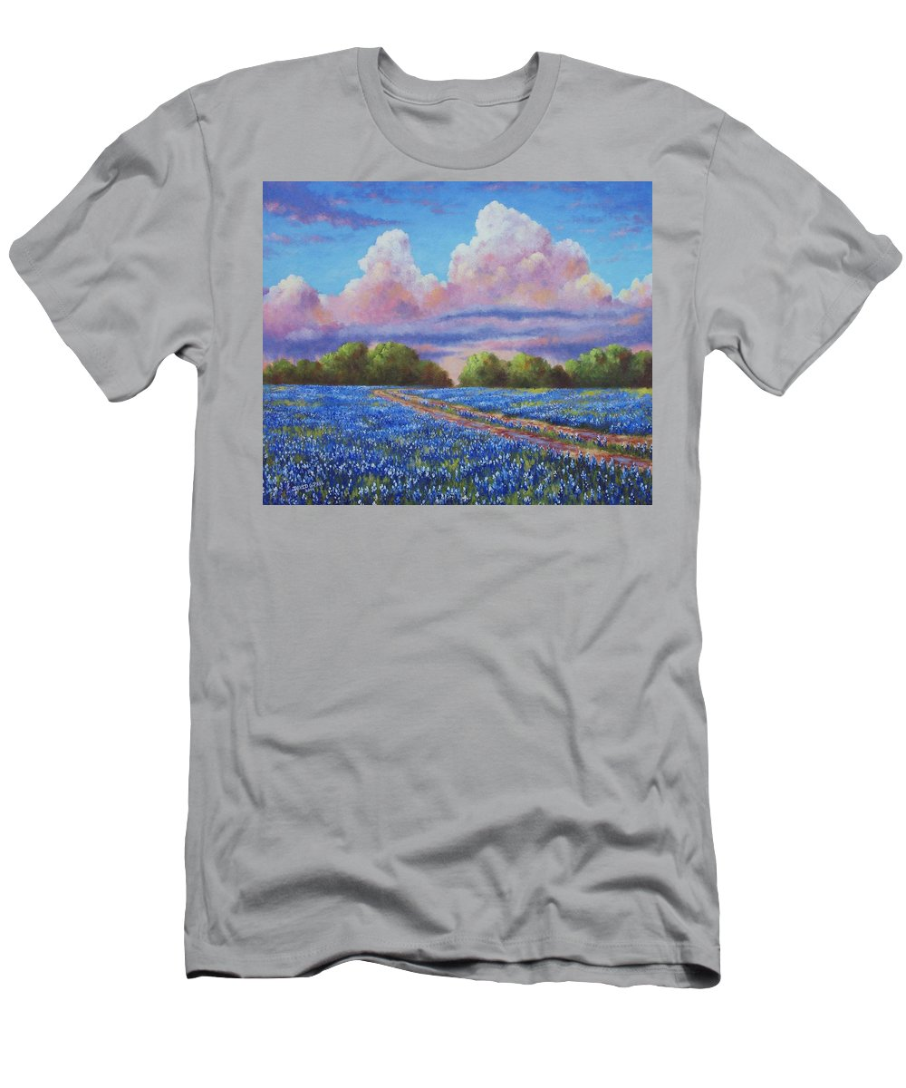 Rain T-Shirt featuring the painting Rain For The Bluebonnets by David G Paul