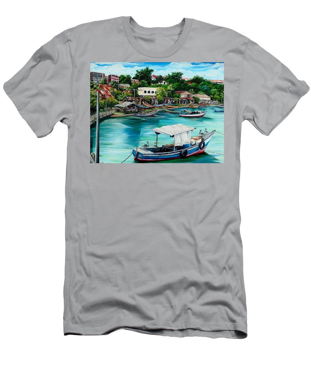 Ocean Painting Sea Scape Painting Fishing Boat Painting Fishing Village Painting Sanfernando Trinidad Painting Boats Painting Caribbean Painting Original Oil Painting Of The Main Southern Town In Trinidad  Artist Pob T-Shirt featuring the painting Sanfernando Wharf by Karin Dawn Kelshall- Best