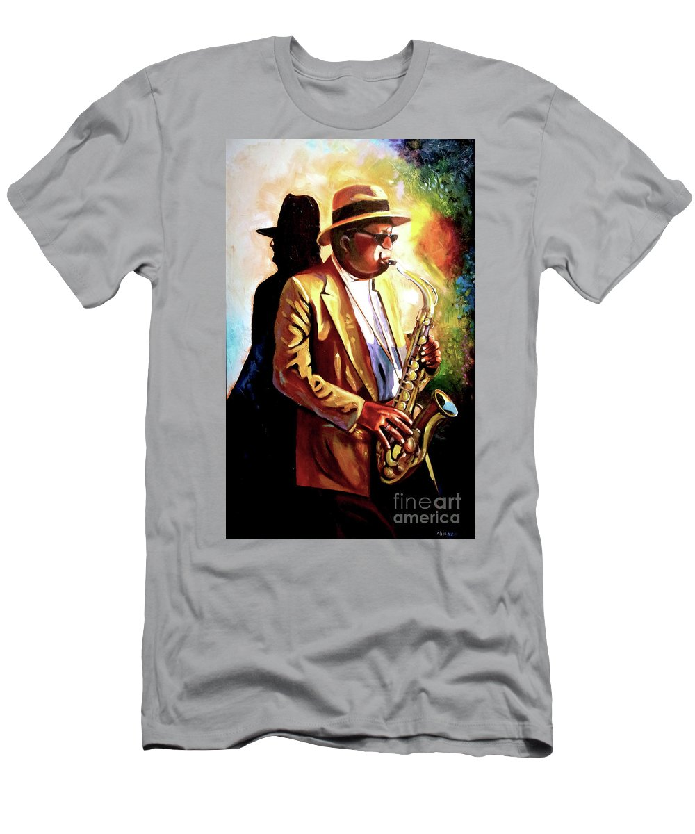 Sax T-Shirt featuring the painting Sax Player by Jose Manuel Abraham