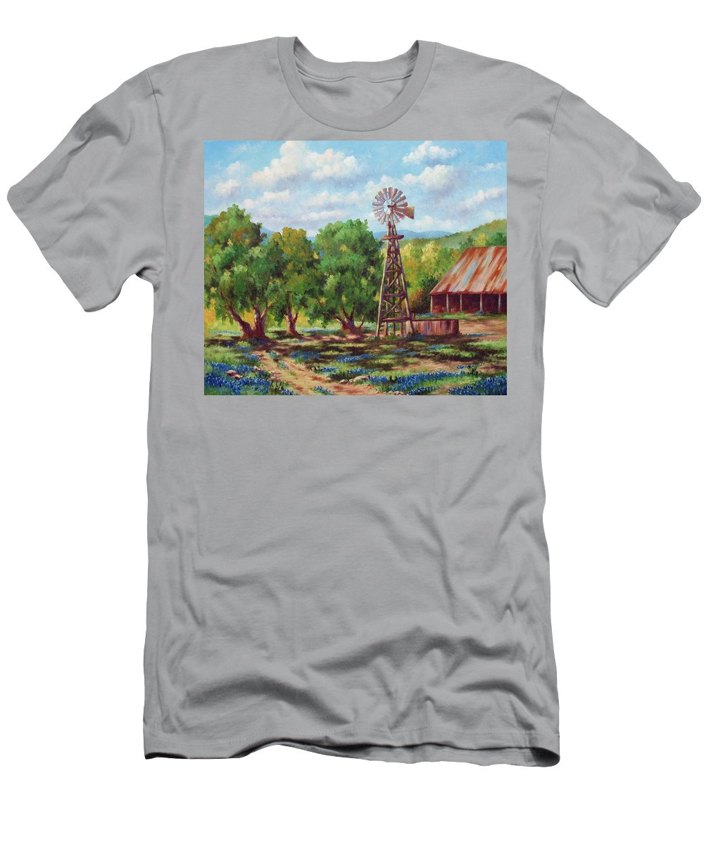 Landscape T-Shirt featuring the painting Shadows In The Farmyard by David G Paul