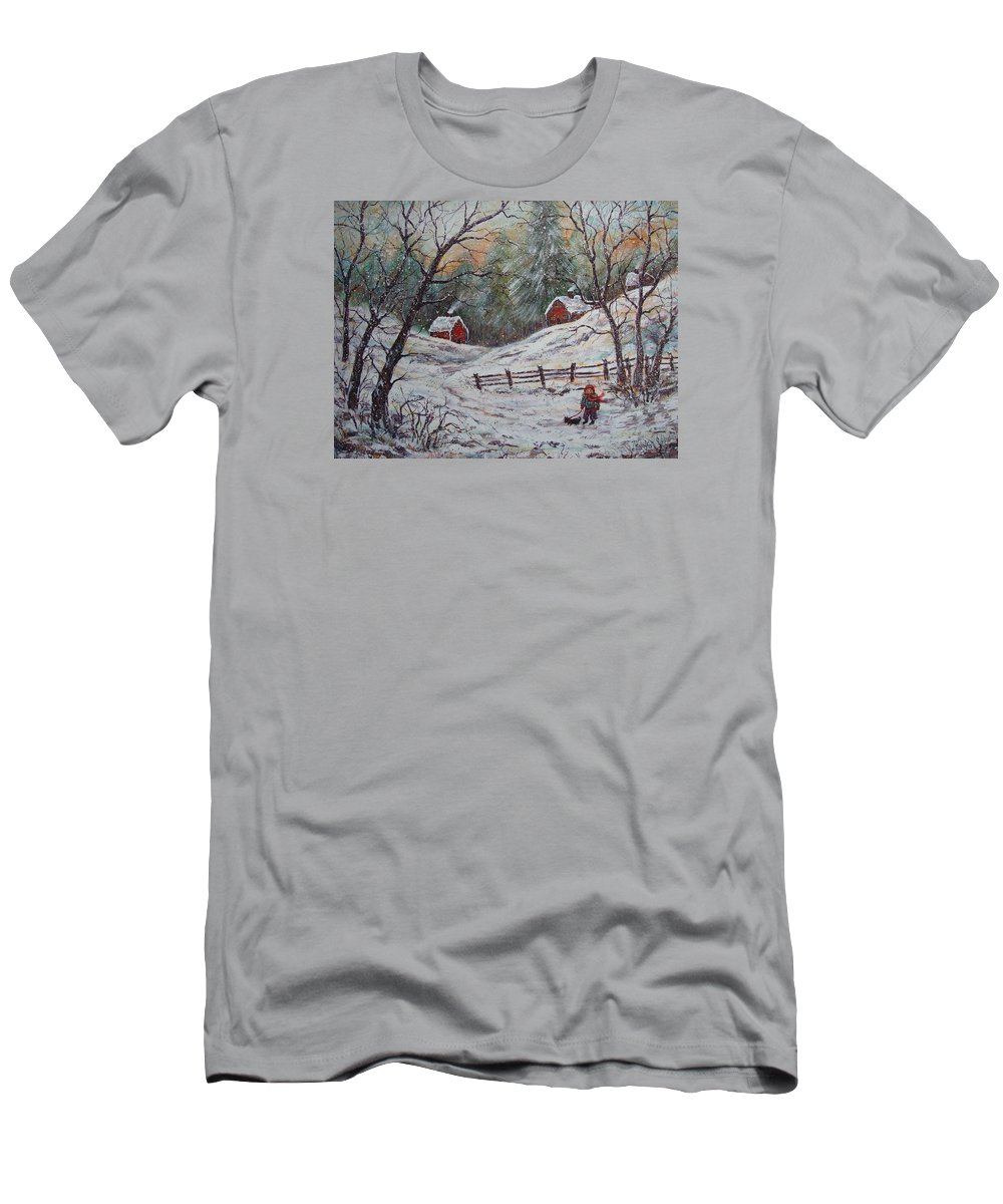 Landscape T-Shirt featuring the painting Snowy Walk. by Natalie Holland