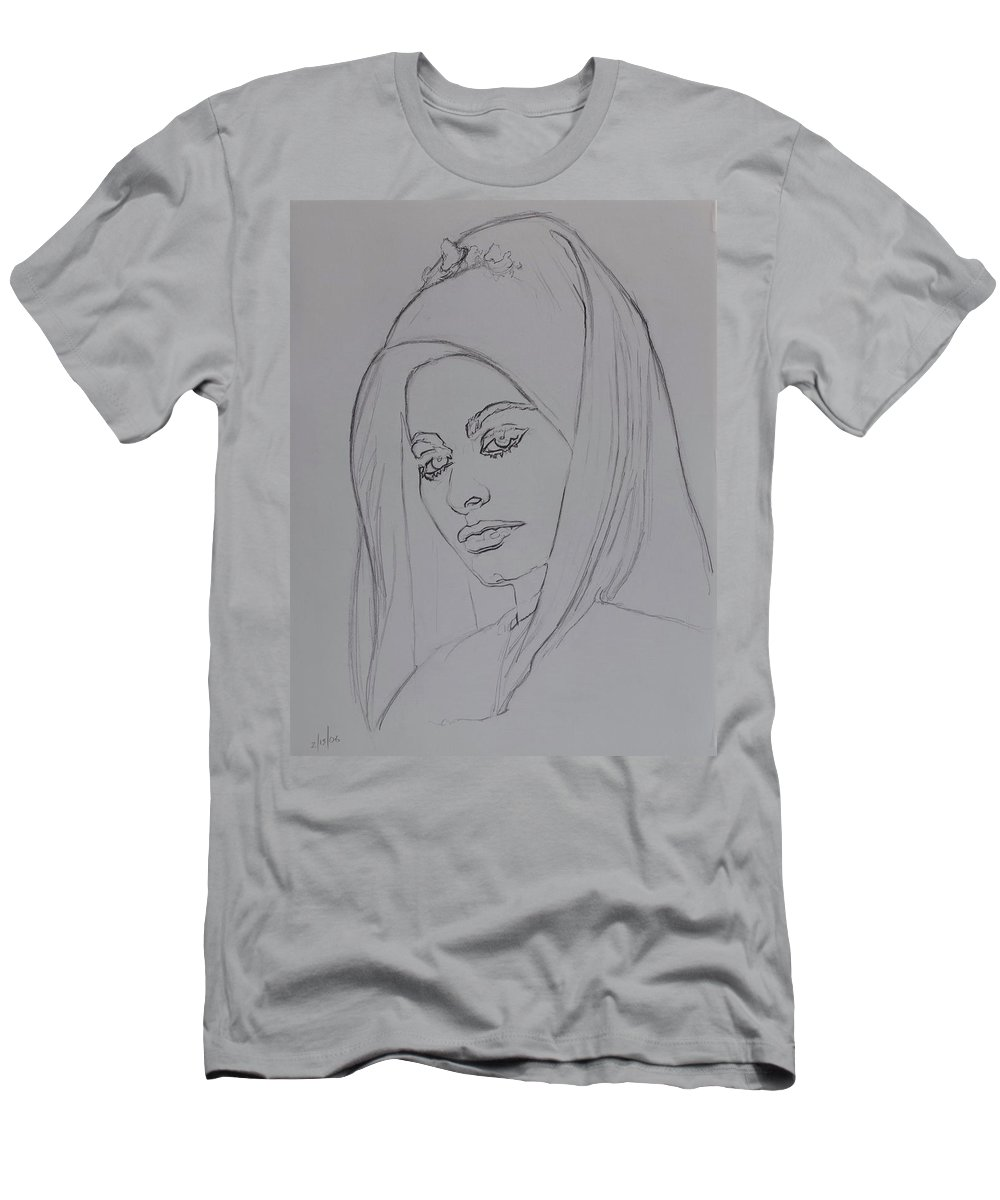 Woman T-Shirt featuring the drawing Sophia Loren In Headdress by Sean Connolly