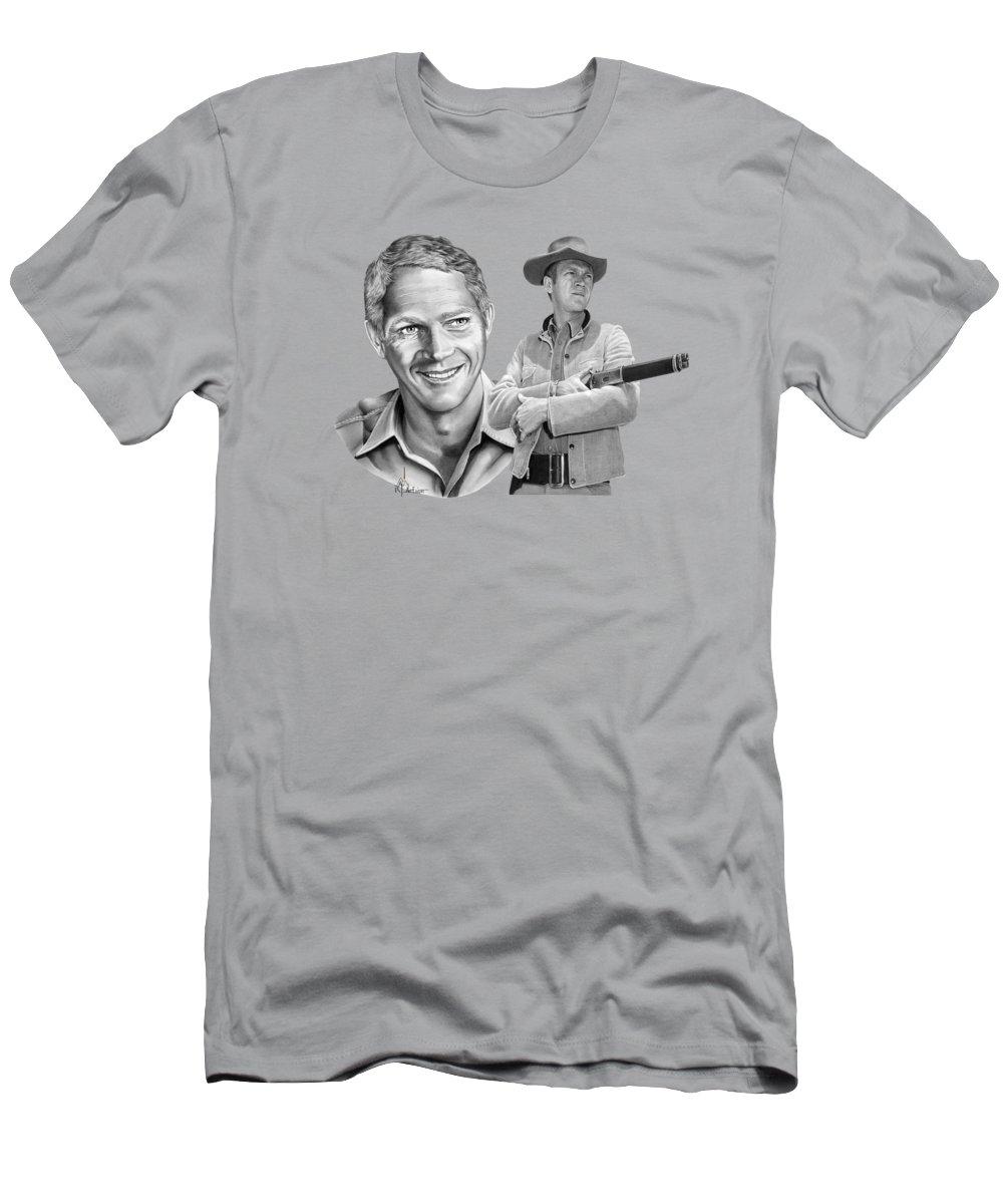 Pencil T-Shirt featuring the drawing Steve McQueen drawings by Murphy Art Elliott