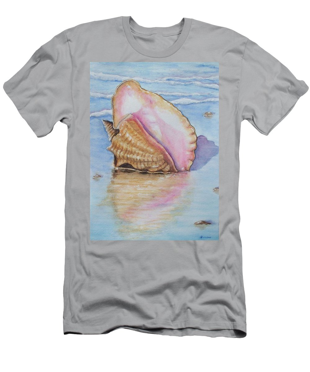 Marine T-Shirt featuring the painting Summer Shell by Conni Reinecke