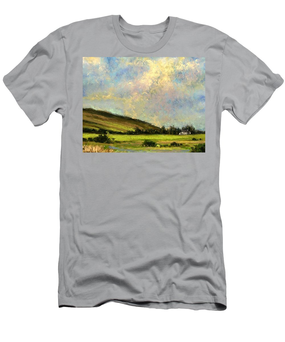 Irish Art T-Shirt featuring the painting Sun Streak Ireland by Jim Gola