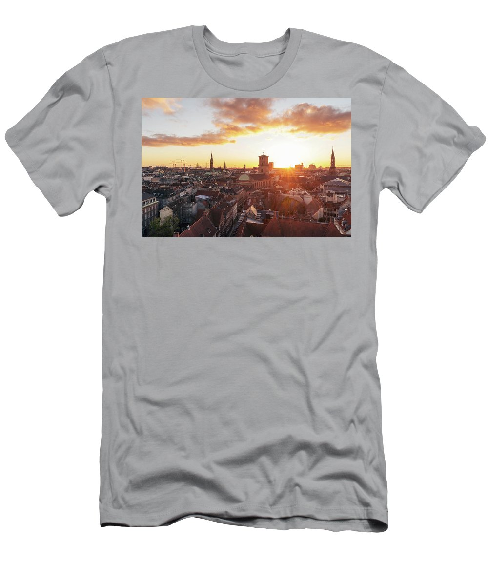 City T-Shirt featuring the photograph Sunset above Copenhagen by Hannes Roeckel