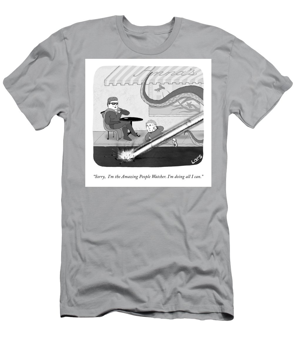 Sorry T-Shirt featuring the drawing The Amazing People Watcher by Lars Kenseth