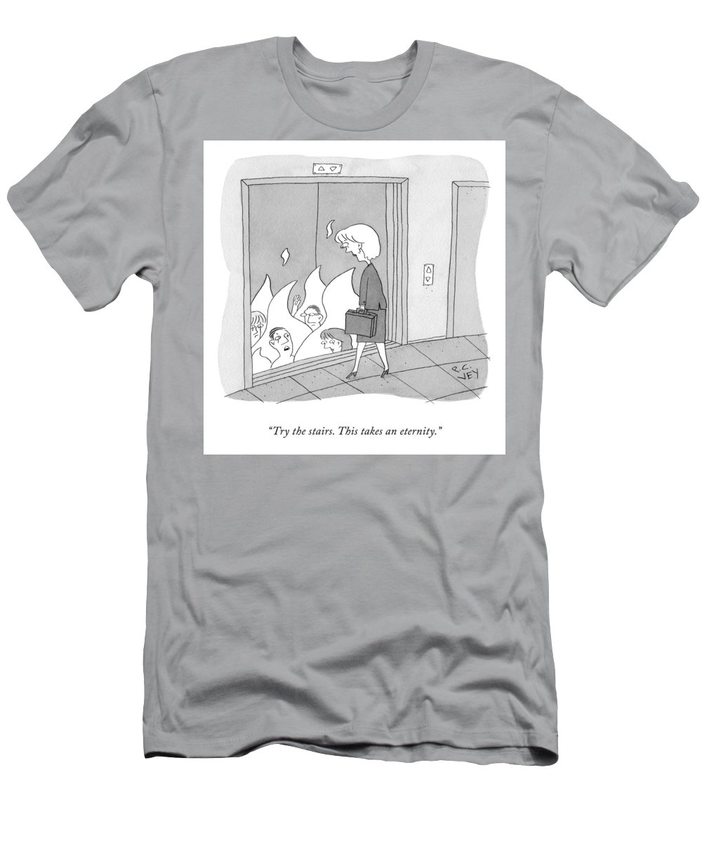 Cctk T-Shirt featuring the drawing Try The Stairs by Peter C Vey