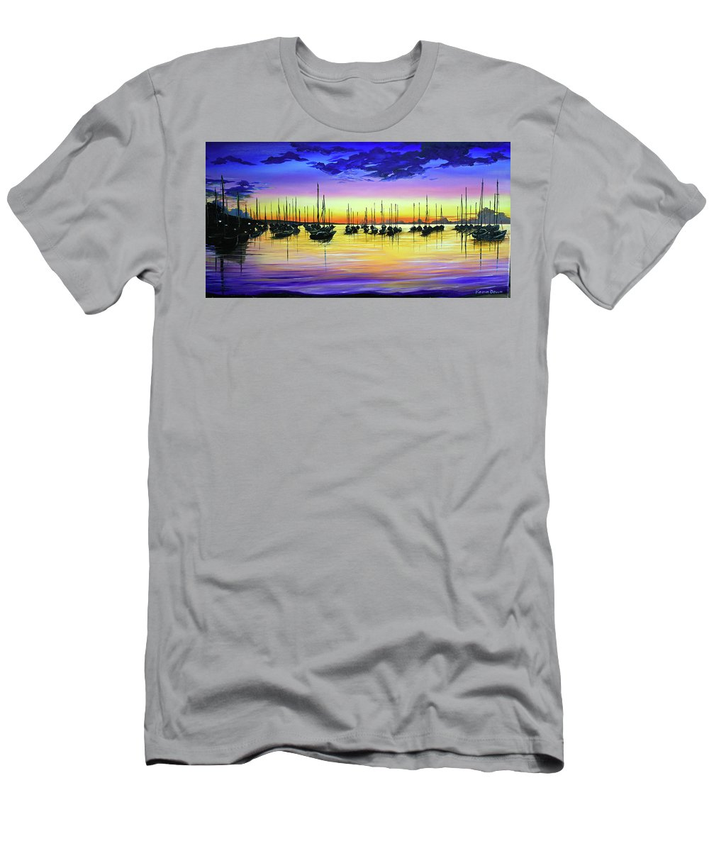Trinidad And Tobago T-Shirt featuring the painting TTYA Trinidad Sunset by Karin Dawn Kelshall- Best