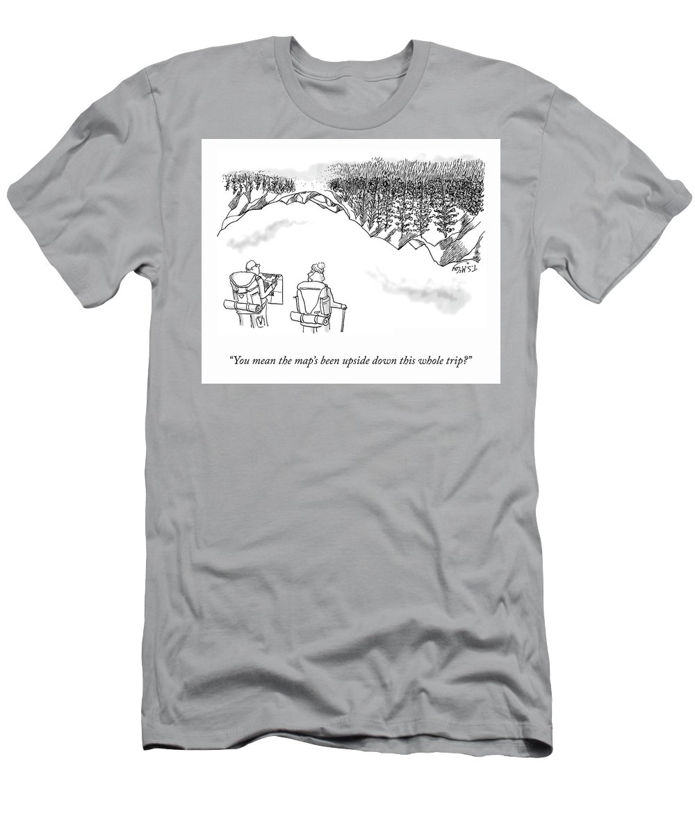 """""""you Mean The Map's Been Upside-down This Whole Trip?"""" T-Shirt featuring the drawing Upside-Down Map by TS McCoy"""
