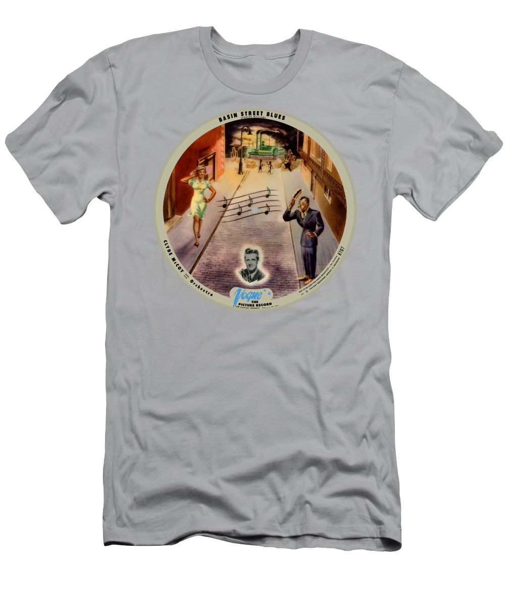 Vogue Picture Record T-Shirt featuring the digital art Vogue Record Art - R 707 - P 7, Blue Logo - Square Version by John Robert Beck