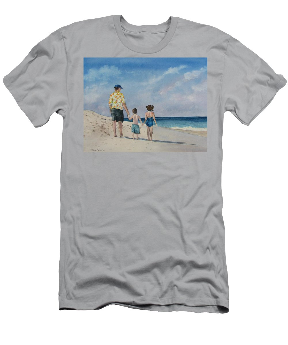 Landscape T-Shirt featuring the painting Walk on the Beach by Sharon Farber