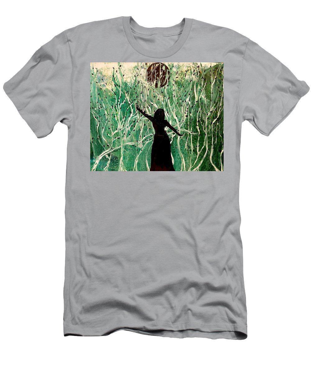 Moon T-Shirt featuring the painting Welcome the night by Valerie Josi