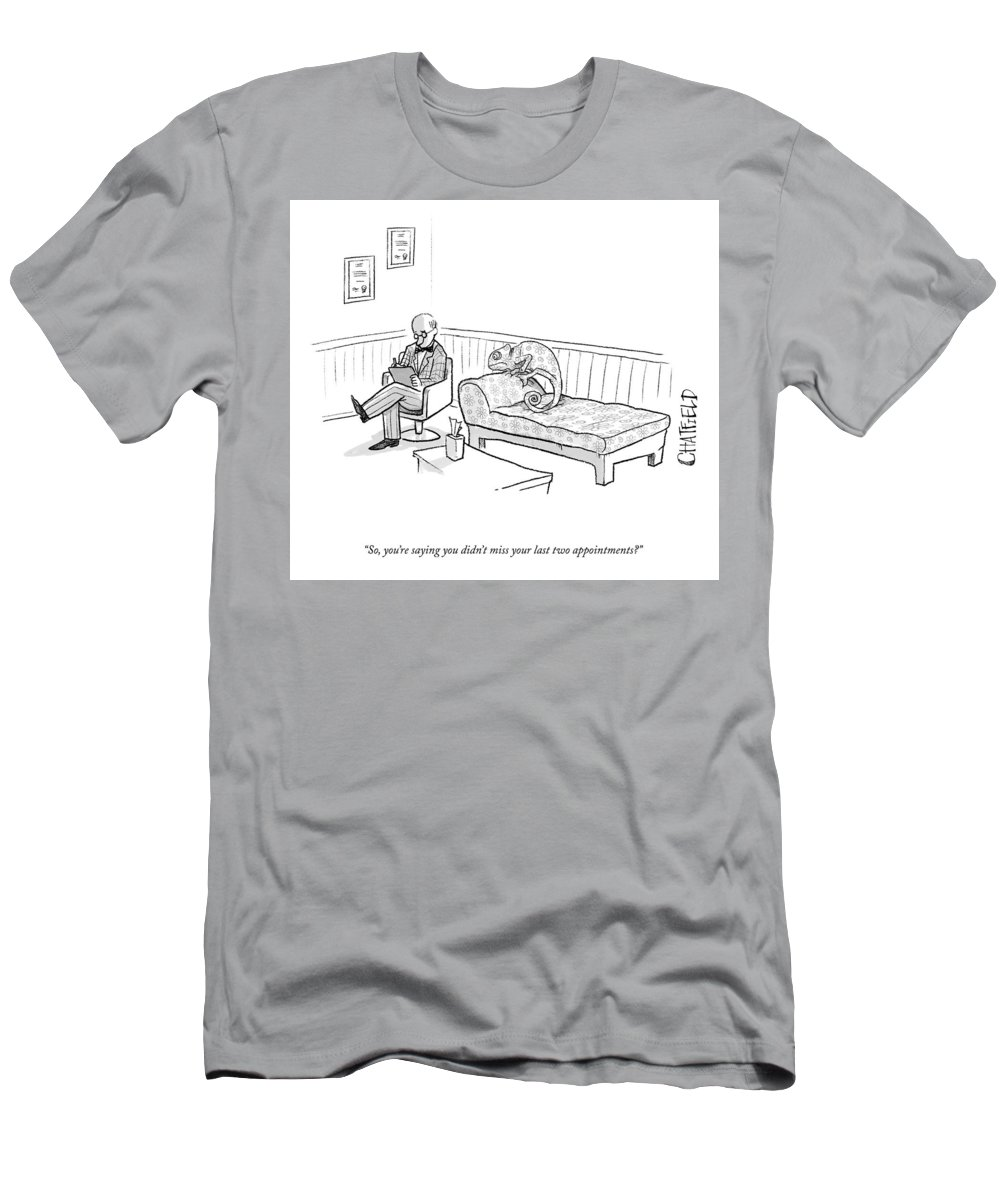 Cctk T-Shirt featuring the drawing Your Last Two Appointments by Jason Chatfield