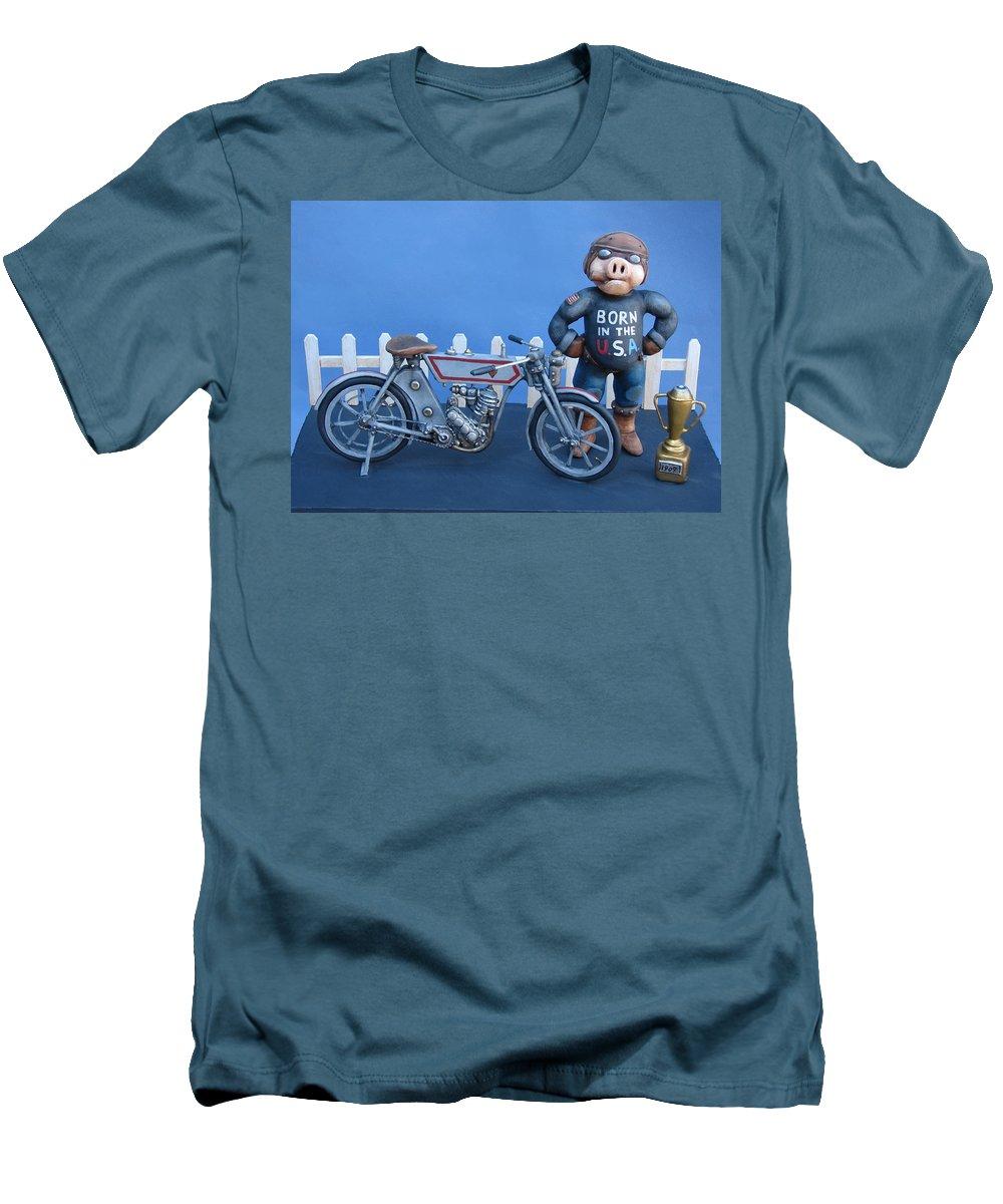 Motorcycle Men's T-Shirt (Athletic Fit) featuring the sculpture 1909 Hog by Stuart Swartz