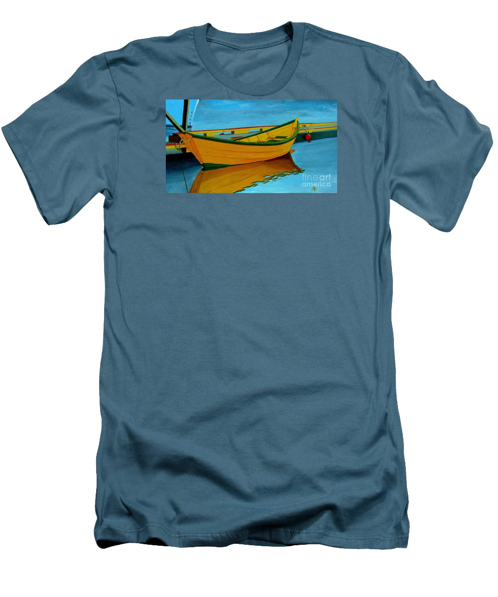Grand Banks Men's T-Shirt (Athletic Fit) featuring the painting A Grand Banks Dory by Anthony Dunphy