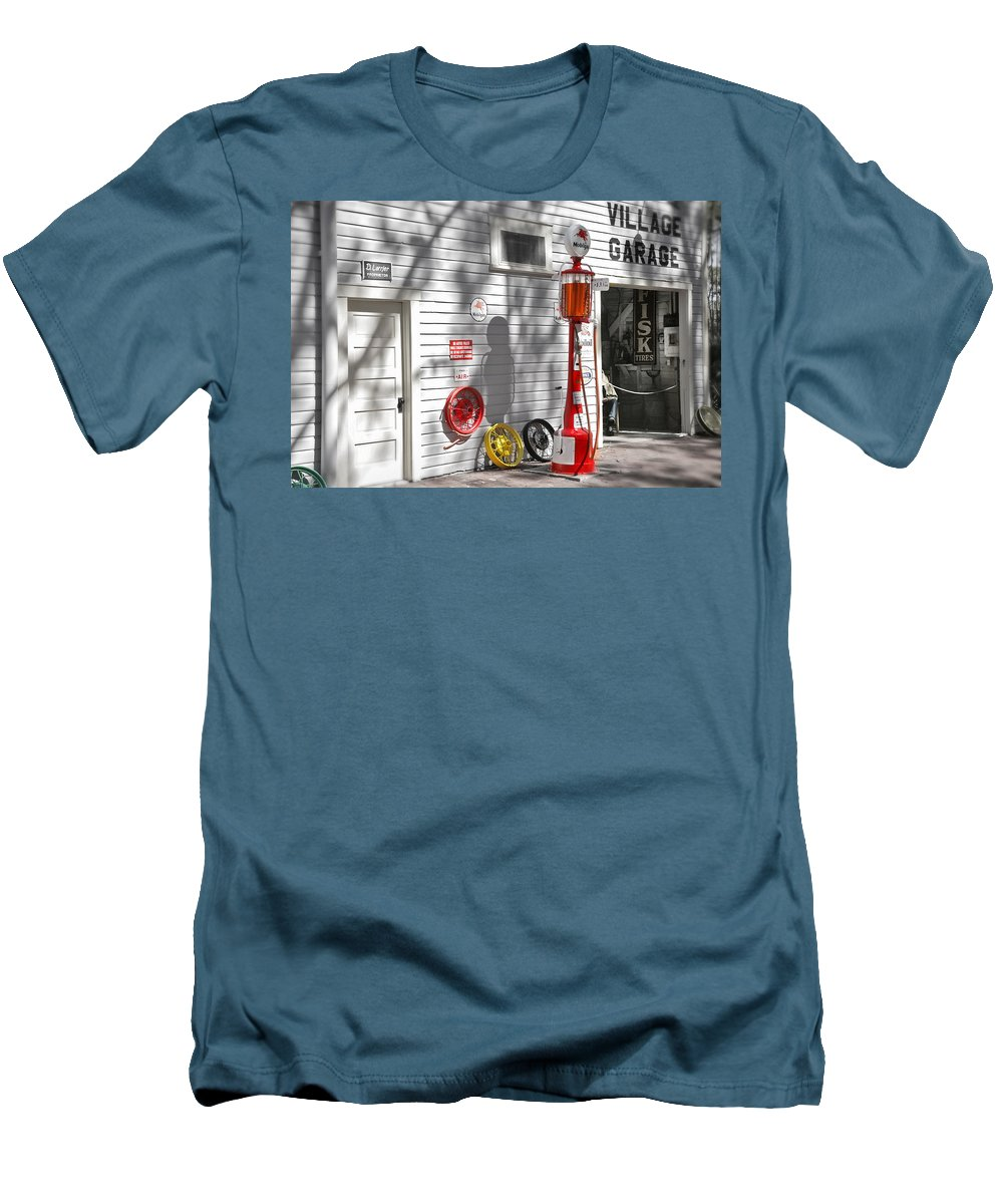 Garage Men's T-Shirt (Athletic Fit) featuring the photograph An Old Village Gas Station by Mal Bray