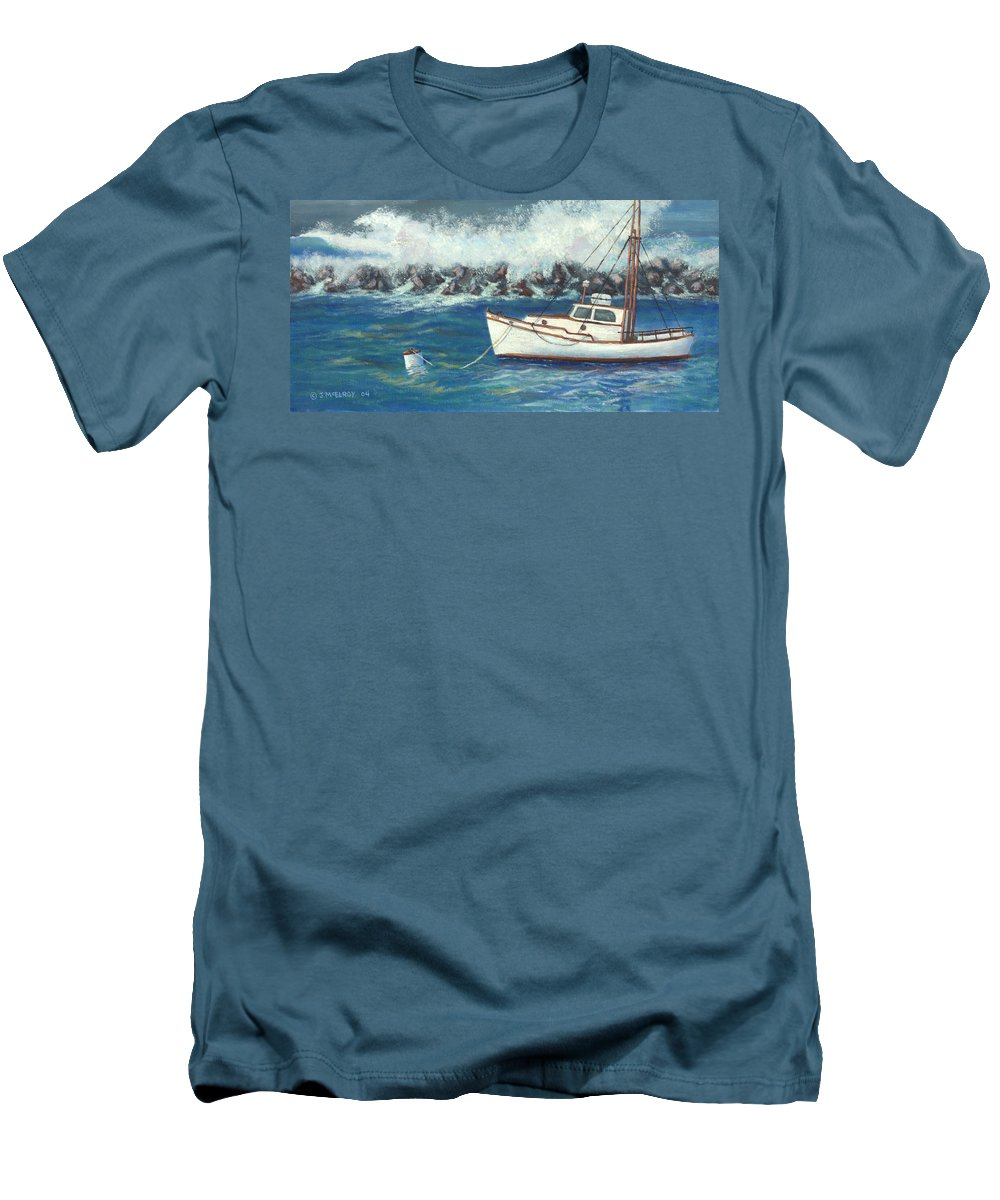 Ocean Men's T-Shirt (Athletic Fit) featuring the painting Behind The Breakwall by Jerry McElroy