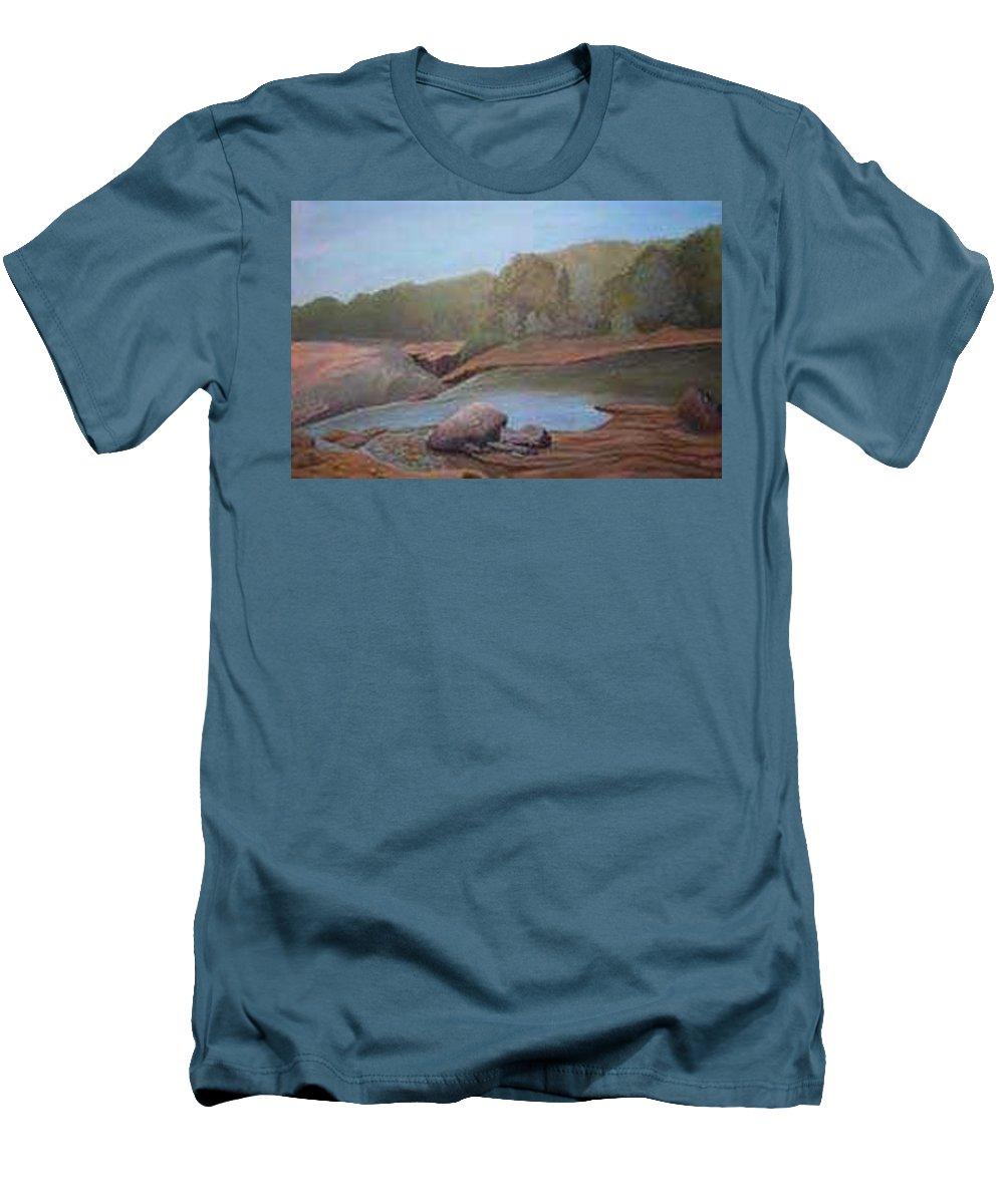 Rick Huotari Men's T-Shirt (Athletic Fit) featuring the painting Black River Falls by Rick Huotari