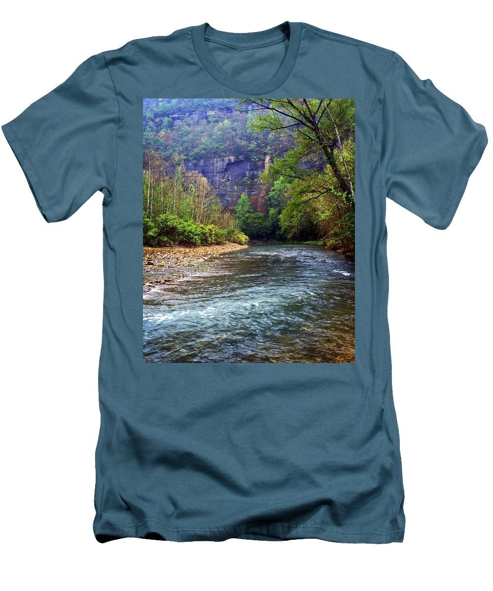 Buffalo National River Men's T-Shirt (Athletic Fit) featuring the photograph Buffalo River Downstream by Marty Koch