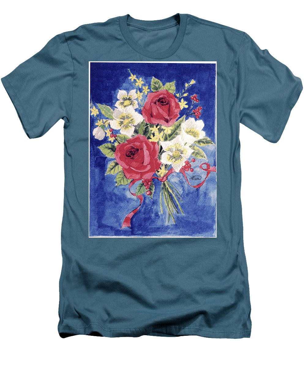 Bunch Of Flowers Men's T-Shirt (Athletic Fit) featuring the painting Bunch Of Flowers by Alban Dizdari