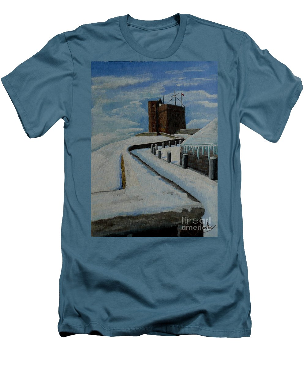 Landscape Men's T-Shirt (Athletic Fit) featuring the painting Cabot Tower Newfoundland by Anthony Dunphy