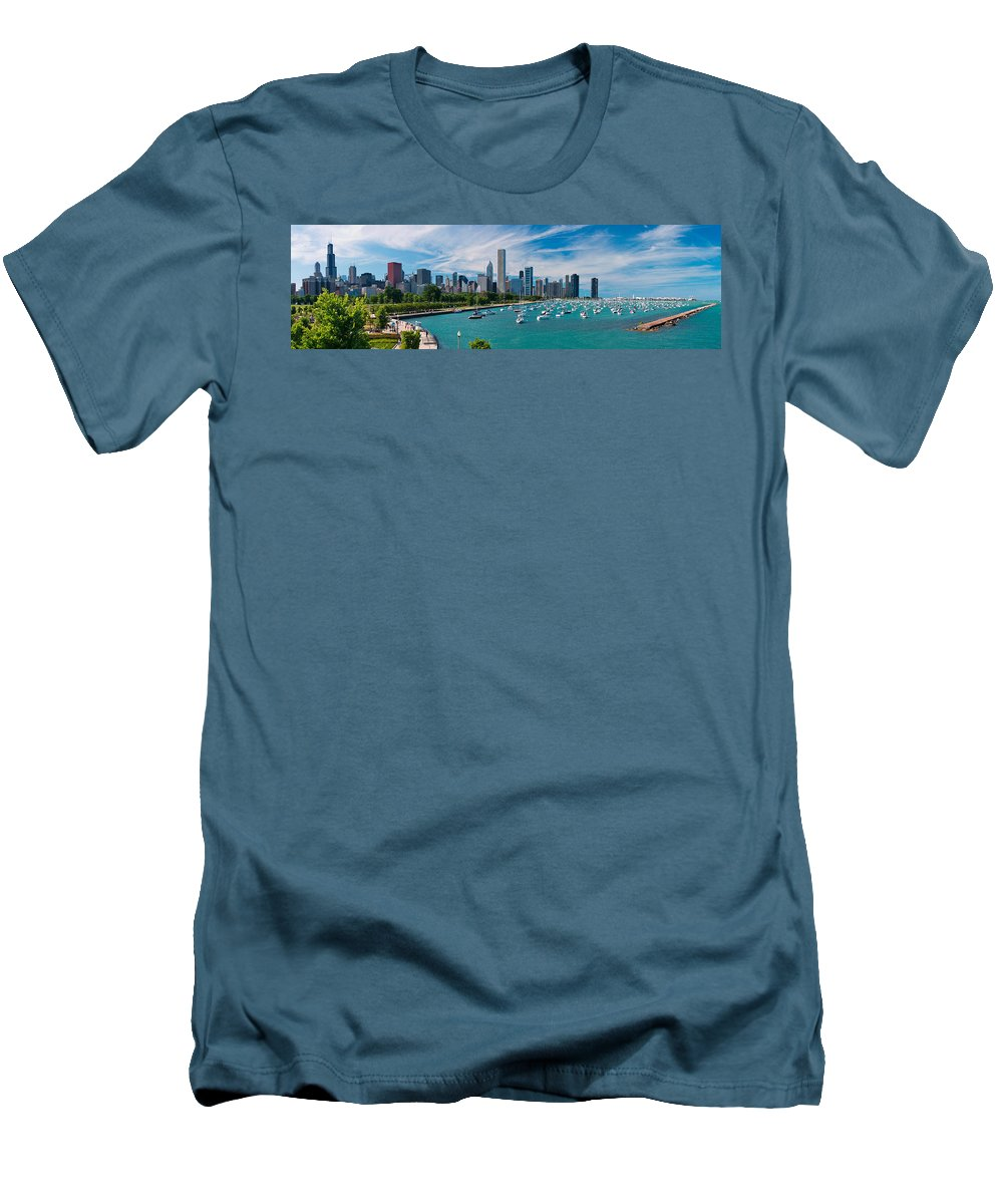 3scape Men's T-Shirt (Athletic Fit) featuring the photograph Chicago Skyline Daytime Panoramic by Adam Romanowicz