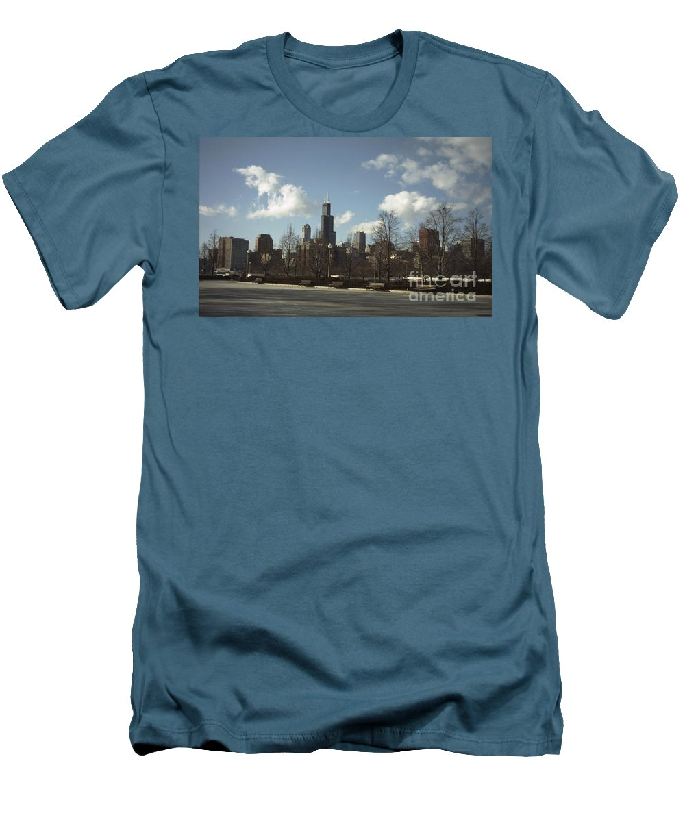Chicago Skyline Men's T-Shirt (Athletic Fit) featuring the photograph Chicago Skyline Postcard by Minding My Visions by Adri and Ray