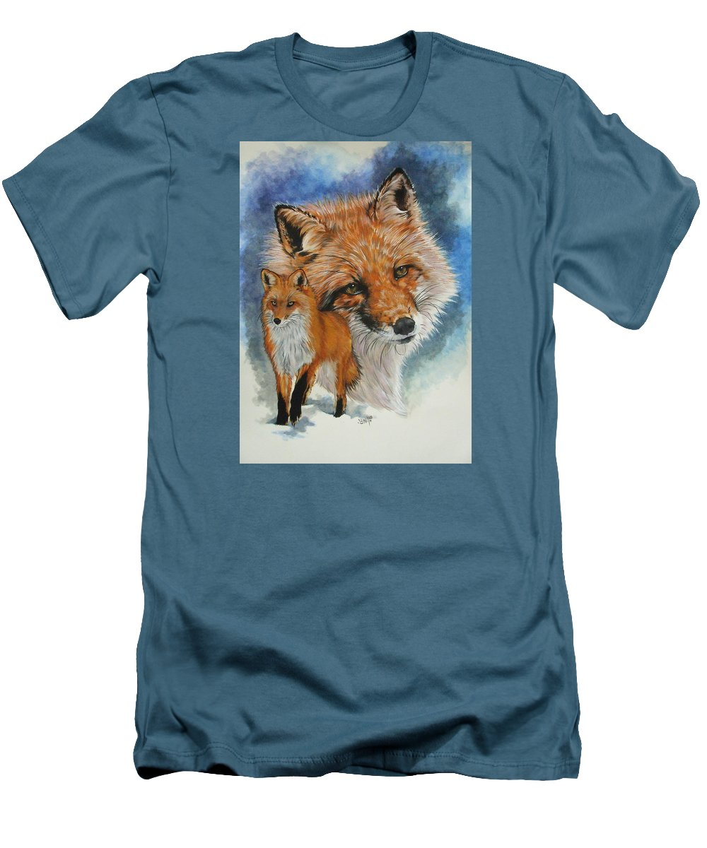 Fox Men's T-Shirt (Athletic Fit) featuring the mixed media Cunning by Barbara Keith