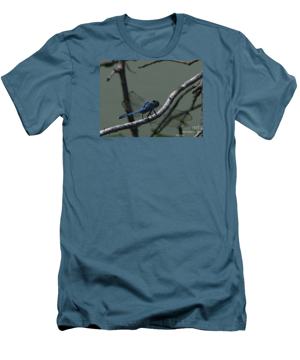 Art For The Wall...patzer Photography Men's T-Shirt (Athletic Fit) featuring the photograph Dragonfly by Greg Patzer