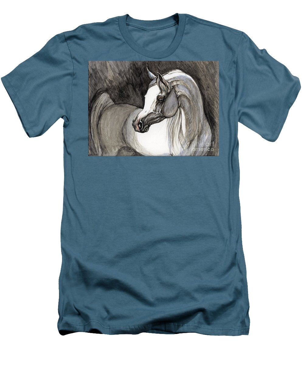Grey Horse Men's T-Shirt (Athletic Fit) featuring the painting Emerging From The Darkness by Angel Tarantella