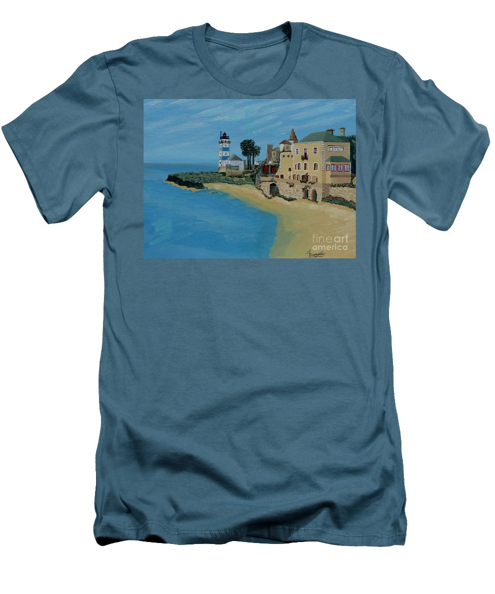 Lighthouse Men's T-Shirt (Athletic Fit) featuring the painting European Lighthouse by Anthony Dunphy