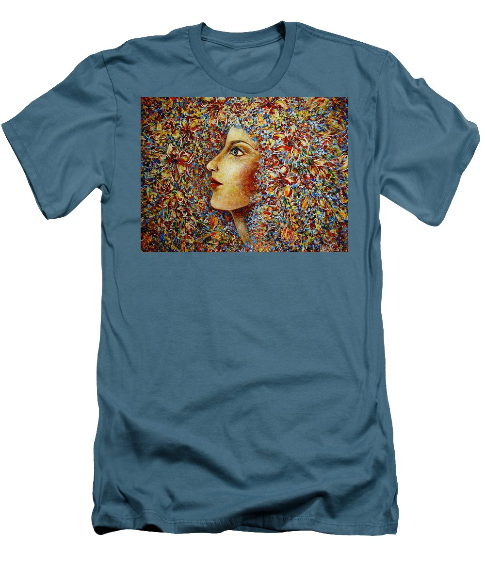 Flower Goddess Men's T-Shirt (Athletic Fit) featuring the painting Flower Goddess. by Natalie Holland