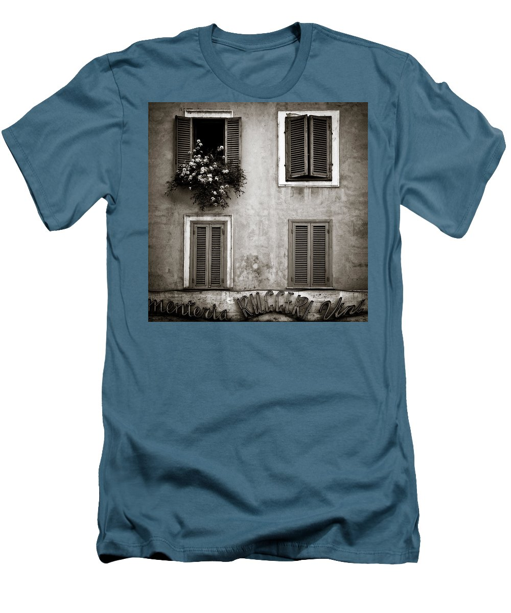 Rome Men's T-Shirt (Athletic Fit) featuring the photograph Four Windows by Dave Bowman