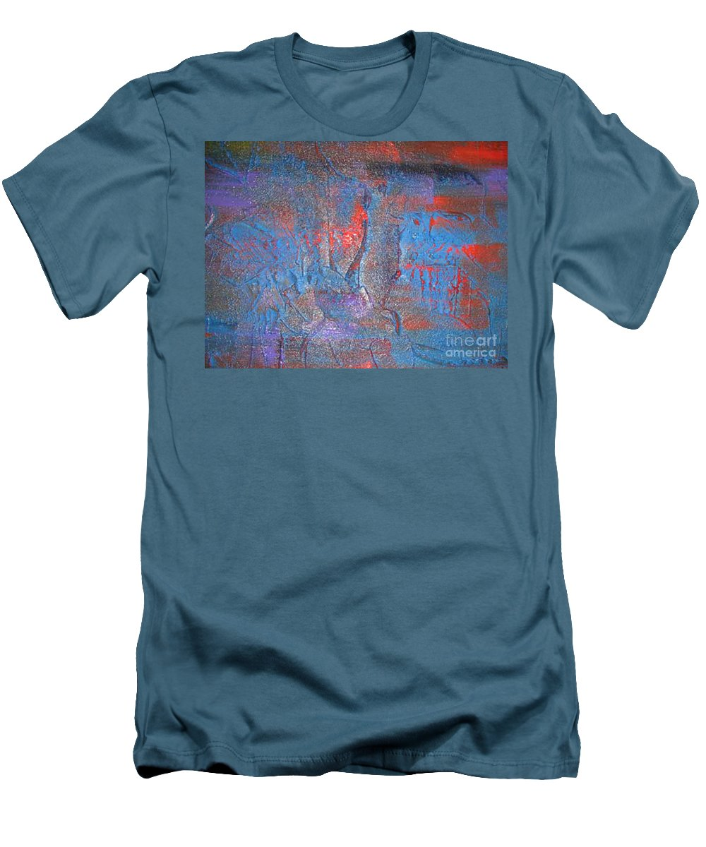 Modern Art Men's T-Shirt (Athletic Fit) featuring the painting Funny Rain by Silvana Abel