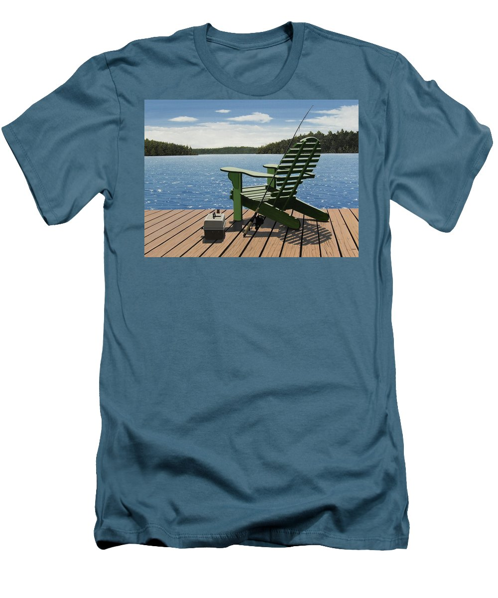 Landscapes Men's T-Shirt (Athletic Fit) featuring the painting Gone Fishing by Kenneth M Kirsch