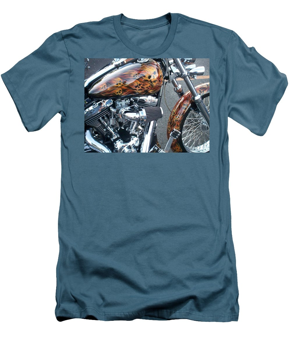 Motorcycles Men's T-Shirt (Athletic Fit) featuring the photograph Harley Close-up Skull Flame by Anita Burgermeister