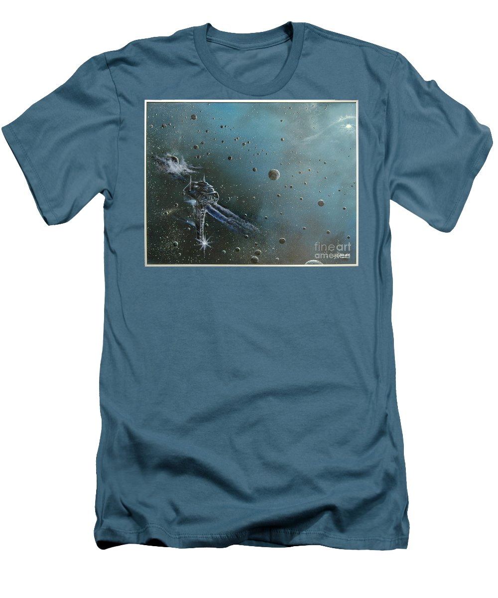 Astro Men's T-Shirt (Athletic Fit) featuring the painting Hiding In The Field by Murphy Elliott
