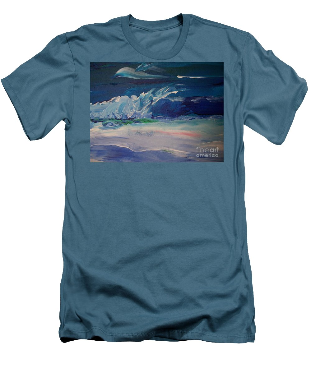 Impressionistic Men's T-Shirt (Athletic Fit) featuring the painting Impressionistic Abstract Wave by Eric Schiabor