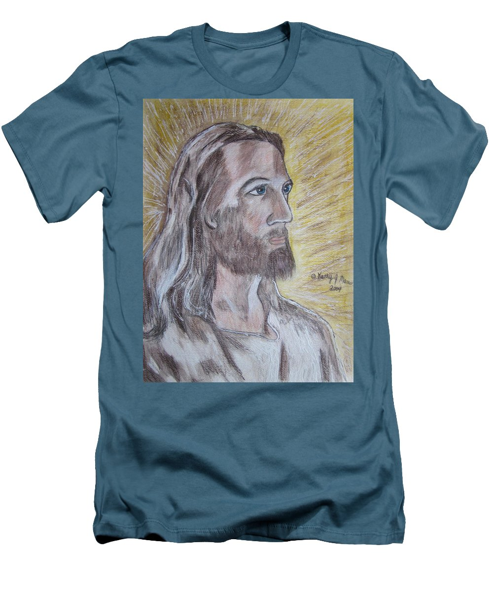 Jesus Men's T-Shirt (Athletic Fit) featuring the painting Jesus by Kathy Marrs Chandler