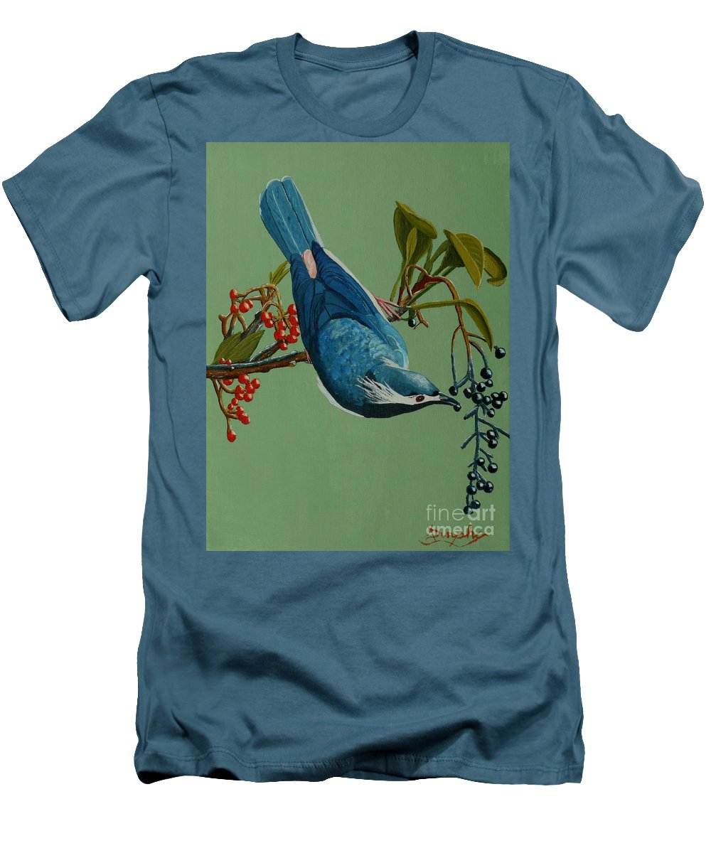 Bird Men's T-Shirt (Athletic Fit) featuring the painting Lunch Time For Blue Bird by Anthony Dunphy