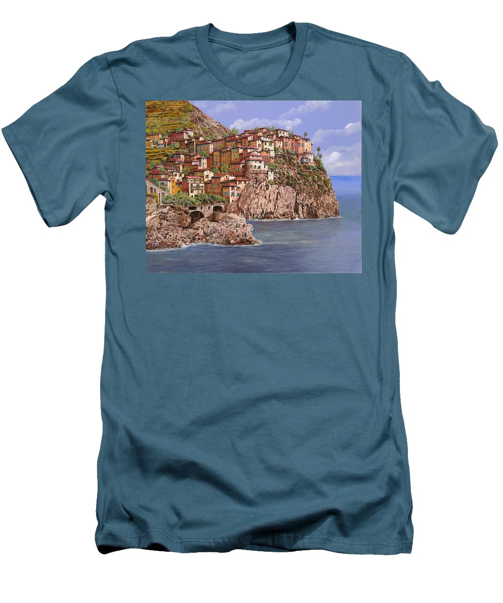 Seascape Men's T-Shirt (Athletic Fit) featuring the painting Manarola  by Guido Borelli