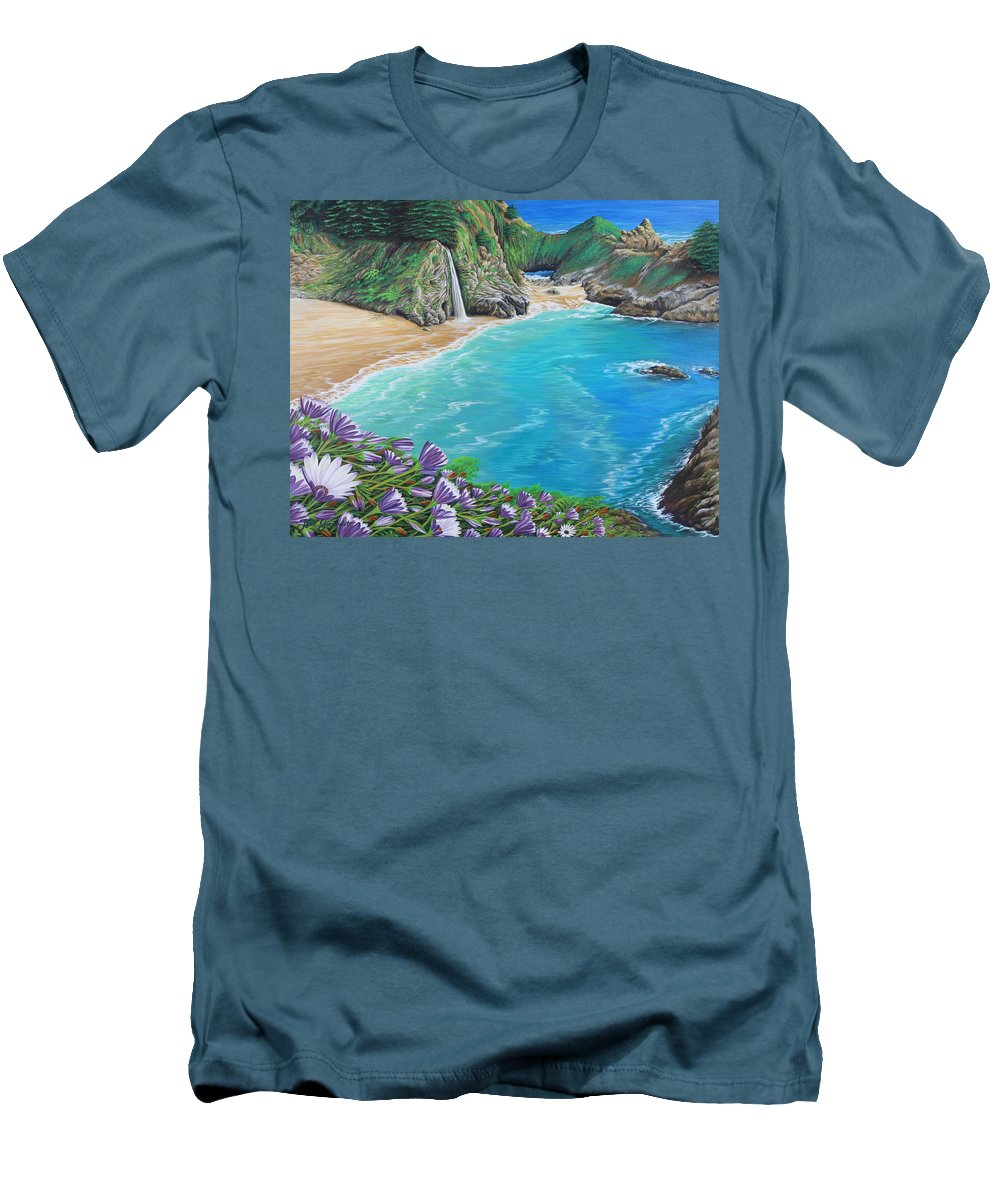 Beach Men's T-Shirt (Athletic Fit) featuring the painting Mcway Falls by Jane Girardot