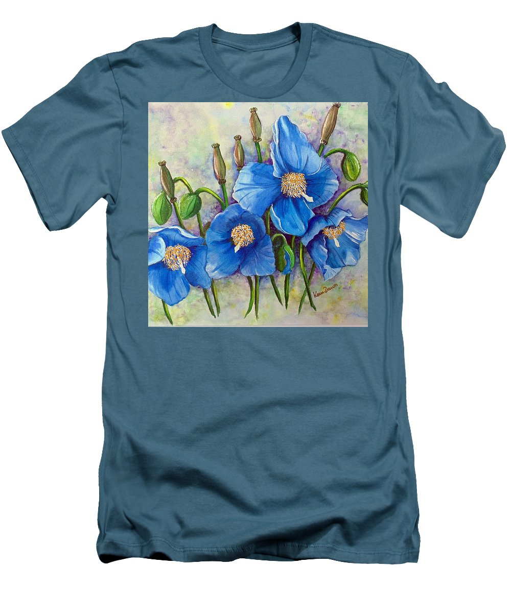 Blue Hymalayan Poppy Men's T-Shirt (Athletic Fit) featuring the painting Meconopsis  Himalayan Blue Poppy by Karin Dawn Kelshall- Best