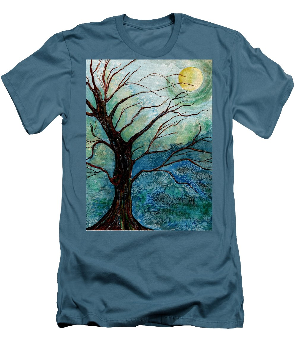 Landscape Men's T-Shirt (Athletic Fit) featuring the painting Moonrise In The Wild Night by Brenda Owen