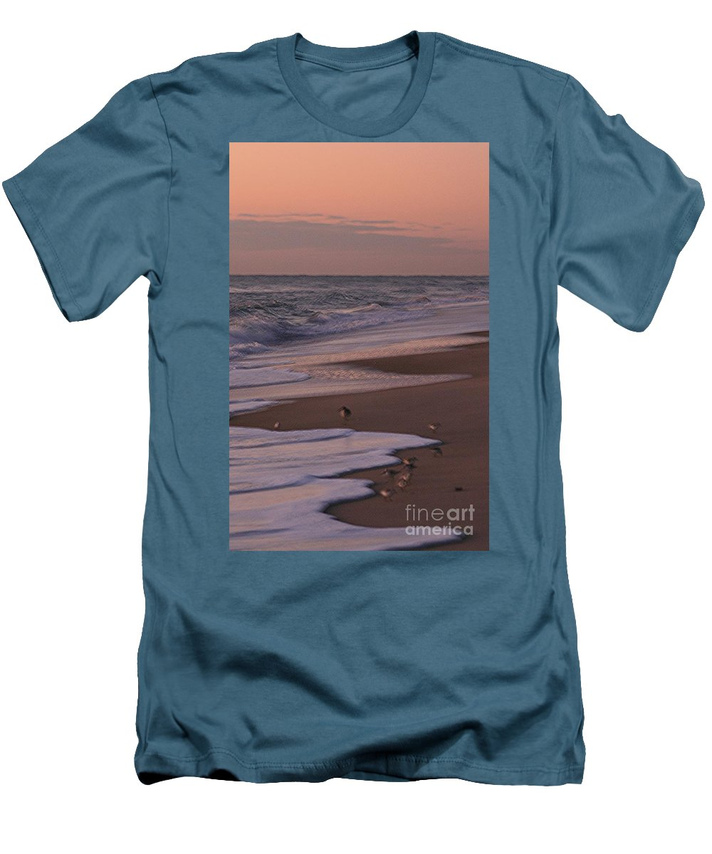 Beach Men's T-Shirt (Athletic Fit) featuring the photograph Morning Birds At The Beach by Nadine Rippelmeyer