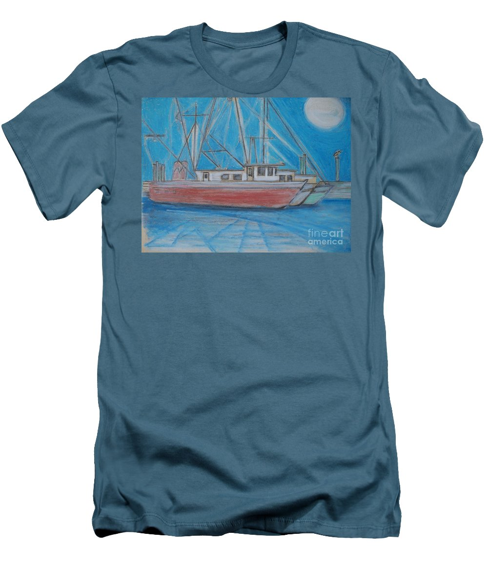 Night Men's T-Shirt (Athletic Fit) featuring the painting Night Fishing by Eric Schiabor