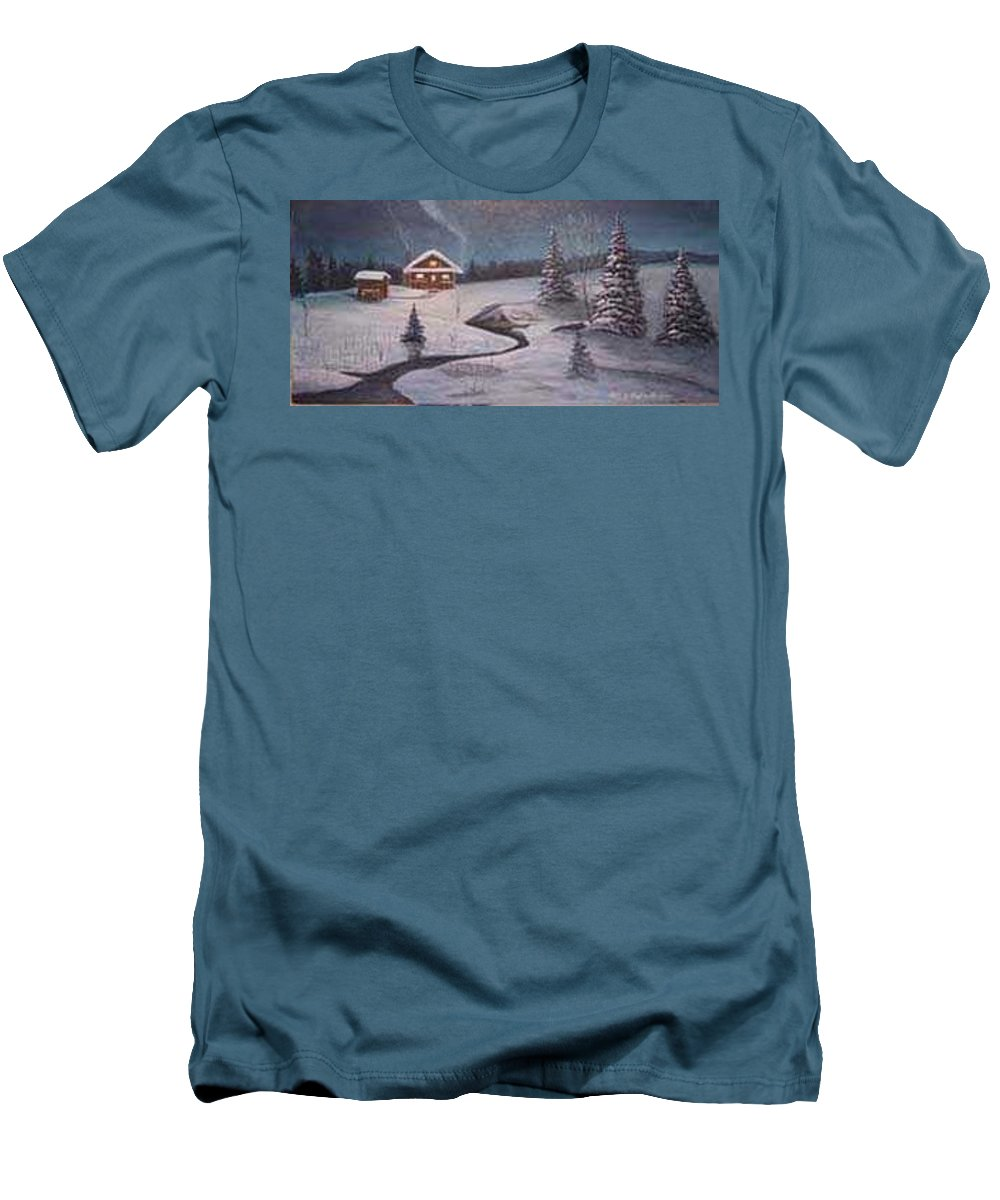 Rick Huotari Men's T-Shirt (Athletic Fit) featuring the painting North Woods Cabin by Rick Huotari