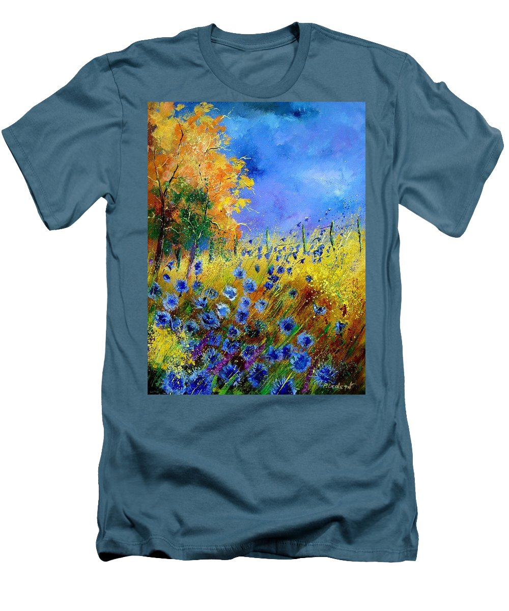 Poppies Men's T-Shirt (Athletic Fit) featuring the painting Orange Tree And Blue Cornflowers by Pol Ledent