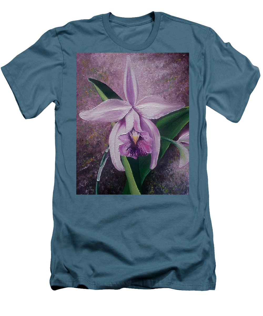 Orchid Purple Floral Botanical Men's T-Shirt (Athletic Fit) featuring the painting Orchid Lalia by Karin Dawn Kelshall- Best